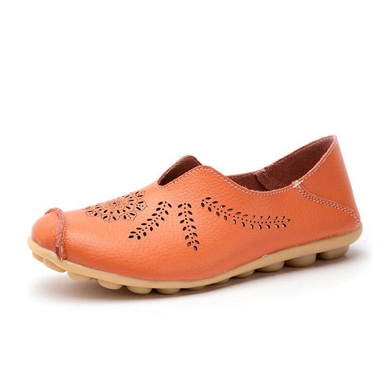 7ec7cda67 Casuais a1866 Couro Dedo Do Redondo Orange Barco A1866 1 Ballet Mulheres  Loafers Genuíno Deslizamento Sapatos ...
