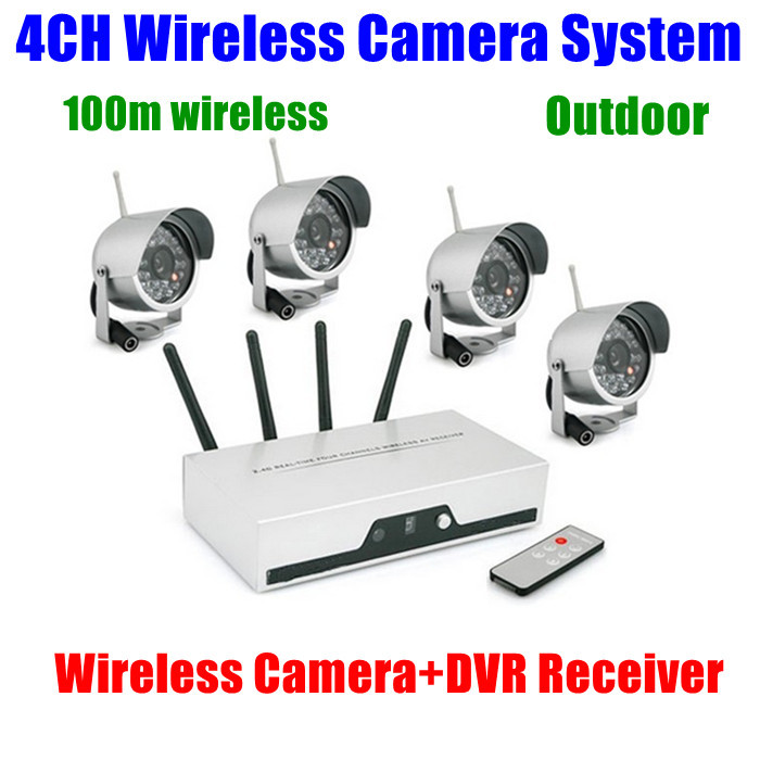 4ch cameras wireless dvr receiver kit wifi quad video audio cctv home security camera system. Black Bedroom Furniture Sets. Home Design Ideas
