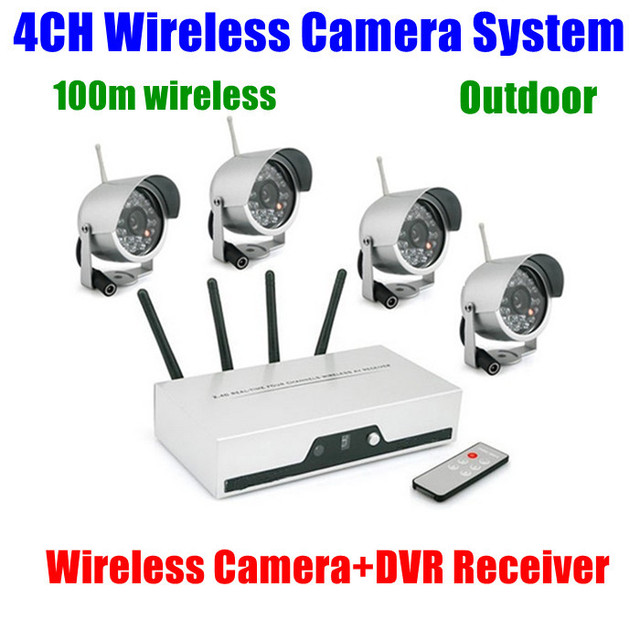 4CH Cameras Wireless DVR Receiver kit wifi Quad Video Audio CCTV ...
