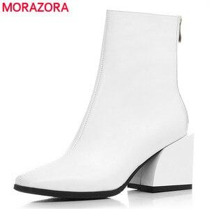 Image 1 - MORAZORA 2020 en kaliteli tam hakiki deri ayakkabı kadın yarım çizmeler zip kare topuklu Chelsea çizmeler moda elbise ayakkabı kadın