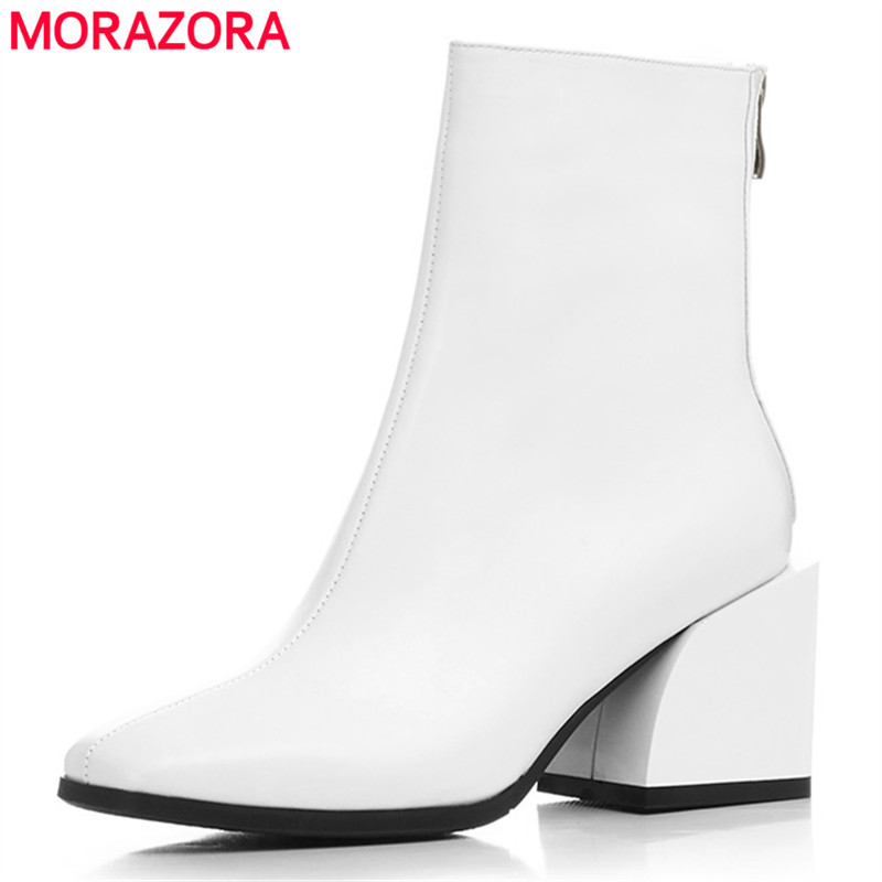 Morazora 2020 최고 품질 전체 정품 가죽 신발 여성 발목 부츠 지퍼 스퀘어 발 뒤꿈치 첼시 부츠 패션 드레스 신발 여성-에서앵클 부츠부터 신발 의  그룹 1