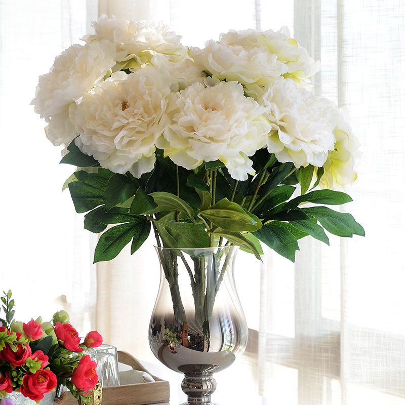 JAROWN 5 Cabeças de Flor De Seda Artificial Peônia Bunch buquê de flores para o casamento acessório de mesa de decoração para casa