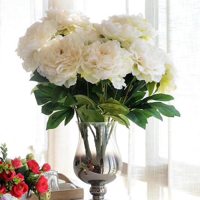 Jarown 5 t tes soie artificielle fleur de pivoine bouquet de fleurs bouquet pour la table de - Bouquet de table pour mariage ...
