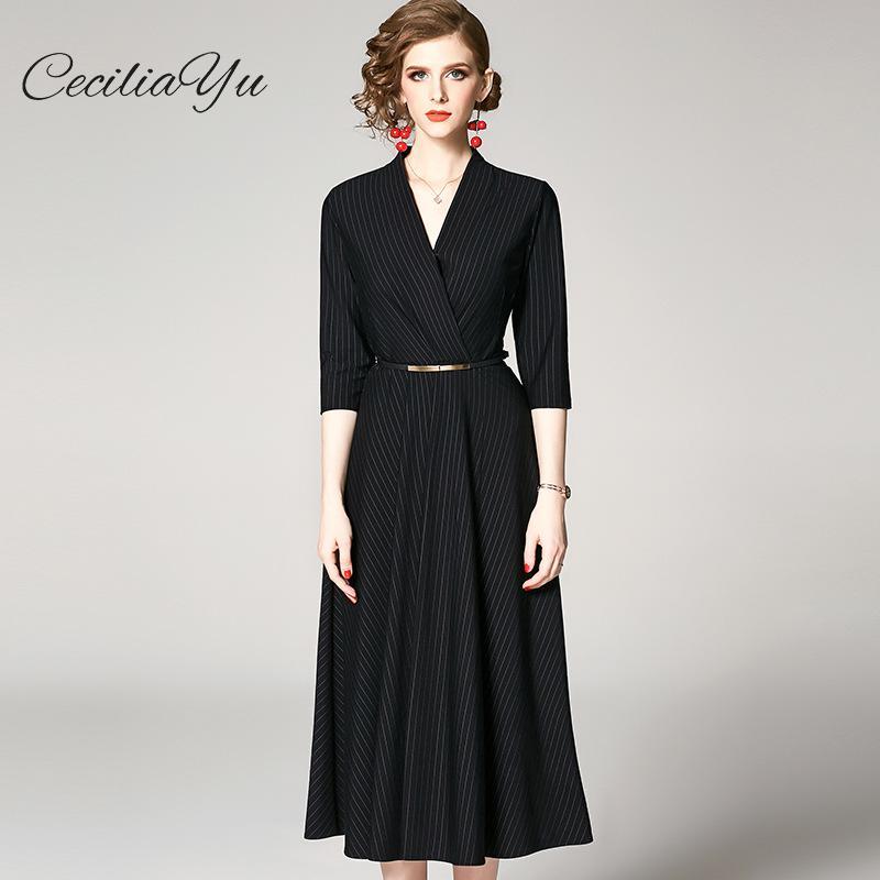 Vêtements pour femmes Robe Nouvelles Robes D'été En 2019 Vintage/conduites de carburant V-cou Rayé Pendentif Robes Ceciliayu vêtements féminins