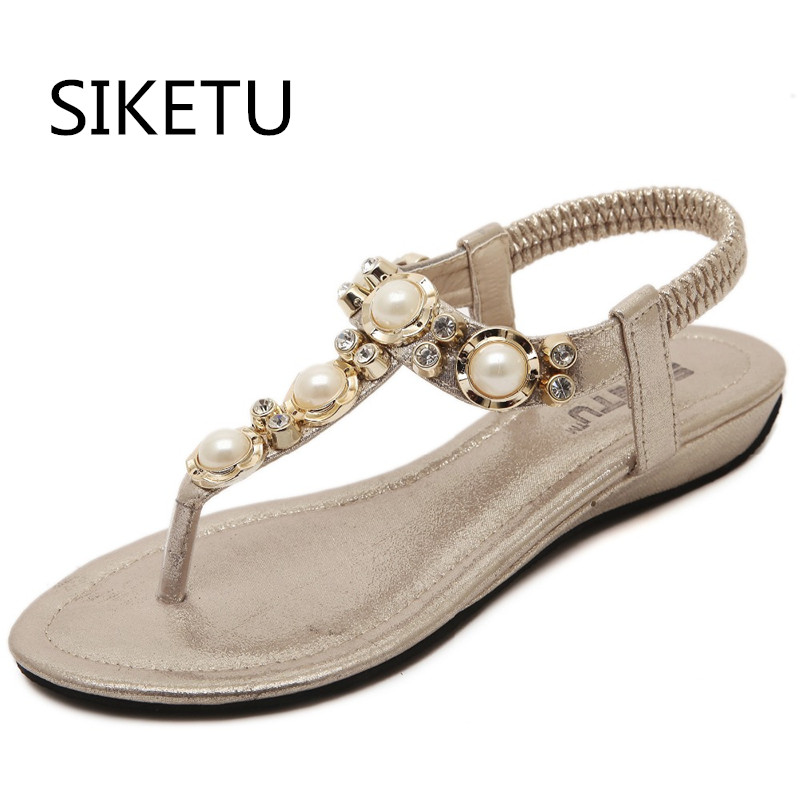 SIKETU Shoe woman gladiator sandals women sandal summer shoes open toe flip flops women sandal rhinestone Pearl wedges plus size summer wedges shoes woman gladiator sandals ladies open toe pu leather breathable shoe women casual shoes platform wedge sandals