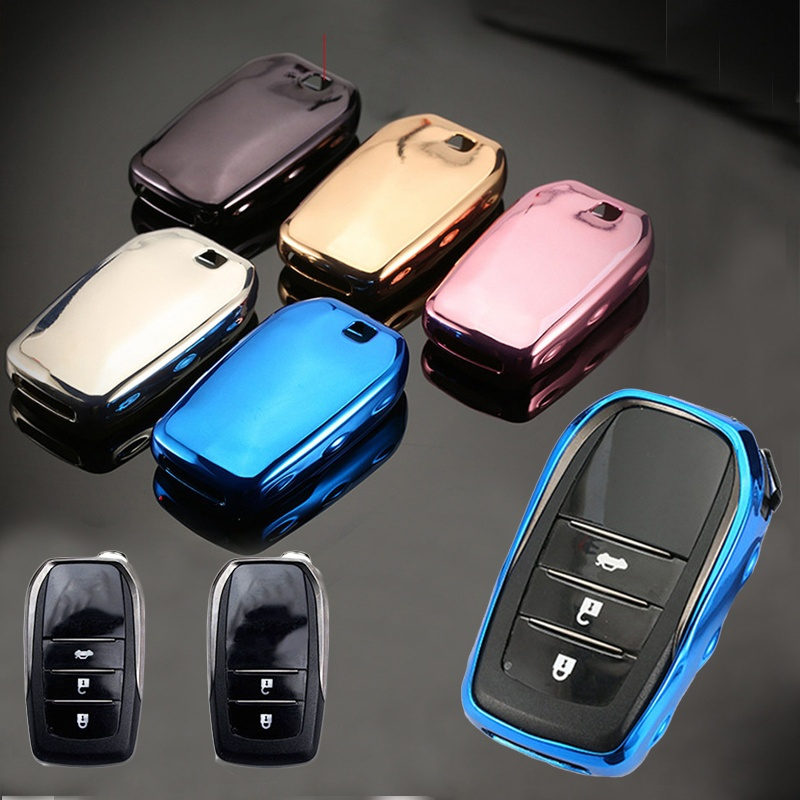 For Toyota Electric plating TPU Car Key Case Cover Camry Highlander Prado Crown Land Cruiser Prius Vitz Smart Key Protect shell