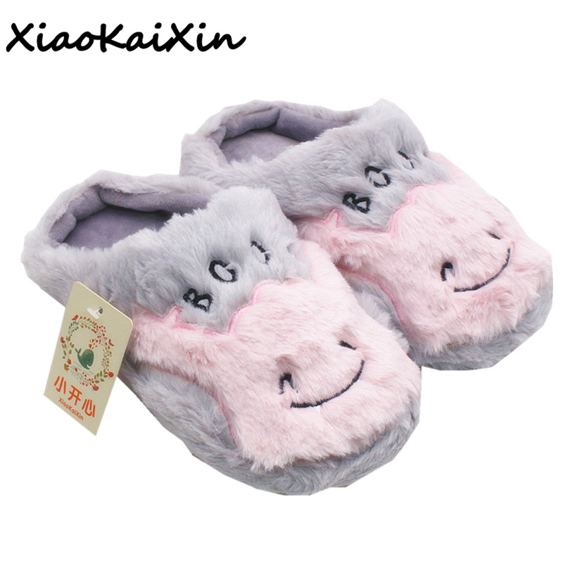 Women Winter Home Slippers Woman Non-slip Soft Indoor Floor House Shoes Warm Plush Grey Cute Hippo Bedroom Slipper zapatos mujer цена 2017