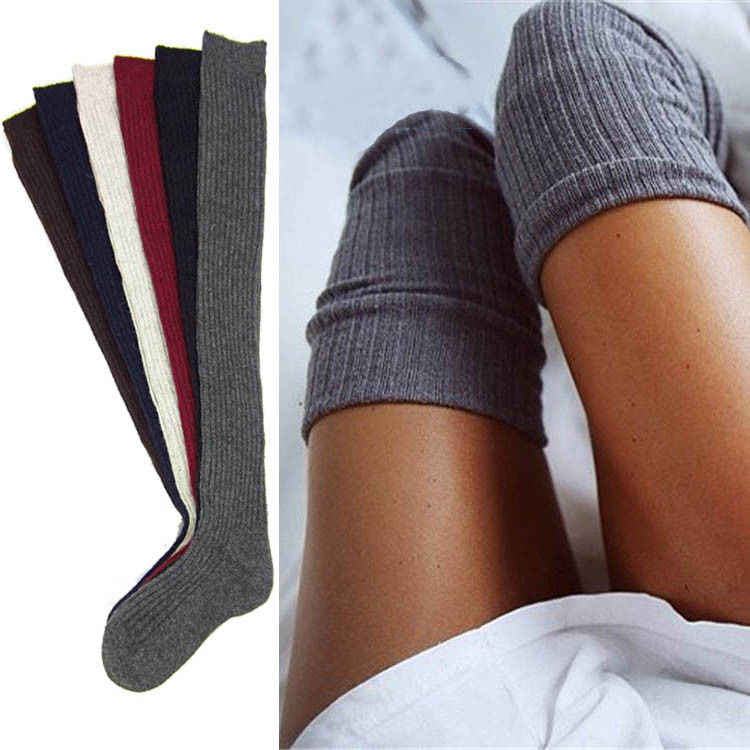 Ladies Warm Knit Cable Knit Knitted Crochet Socks Thigh-High Winter