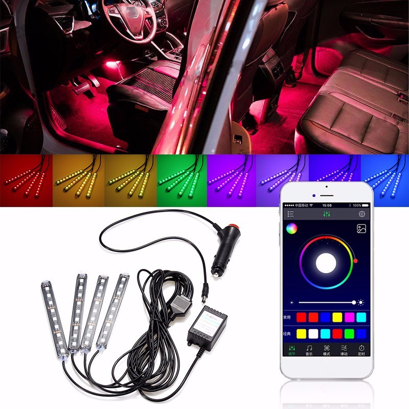 1Set 9LED RGB Car Interior Decorative Floor Atmosphere Lamp Light Strip Smart Intelligent Wireless Phone APP