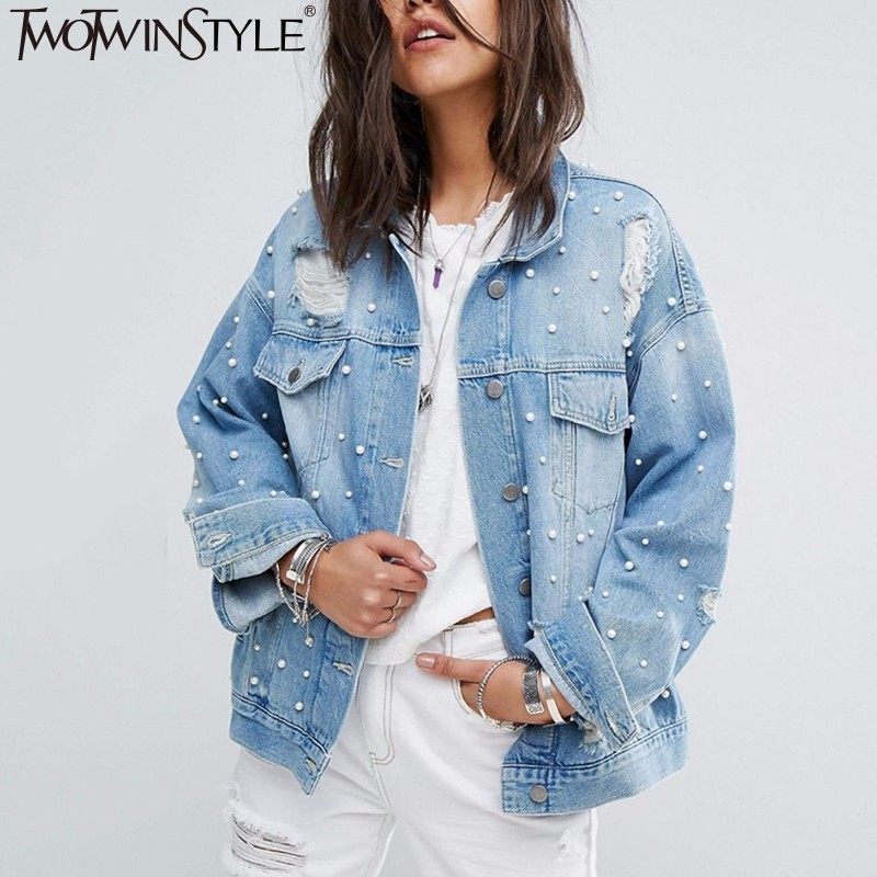 TWOTWINSTYL Vintage Hole Autumn Women Jacket Coat Female Long Sleeve Big Size Denim Women's Basic Coats Clothes Fashion