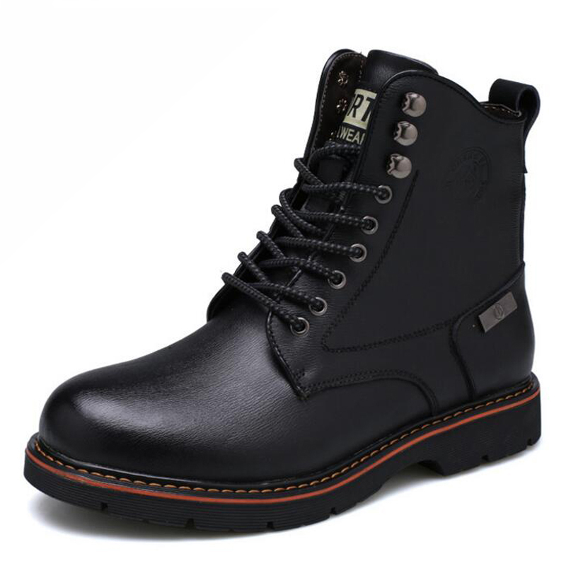Men boots genuine leather shoes waterproof thick plush high quality warm men winter shoes slip-resistant ankle boots autumn warm plush winter shoes men zipper 100% genuine leather boots men thick bottom waterproof black high top ankle men boots