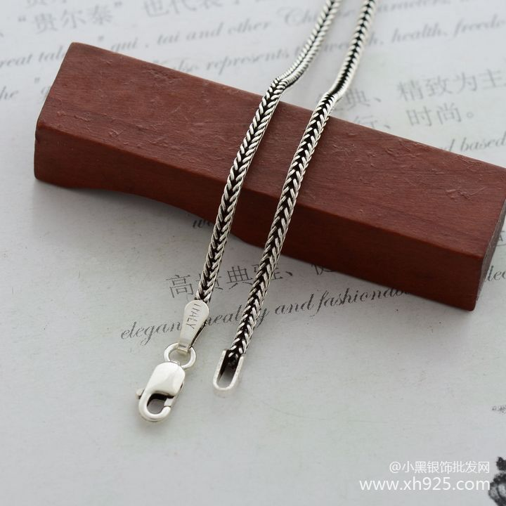 925 sterling silver necklace, thick 1.6 mm fox tails Snake chain - Fine Jewelry - Photo 2