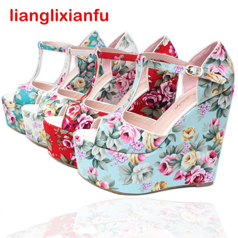 High Quality Women Sandals Wedges High Heels T-strap Women Fashion Shoes Platform Peep Toes Summer Style Retro Shoes 339A-3 retro embroidery women wedges sandals summer style platform shoes woman casual thick high heels creepers slippers plus size 9