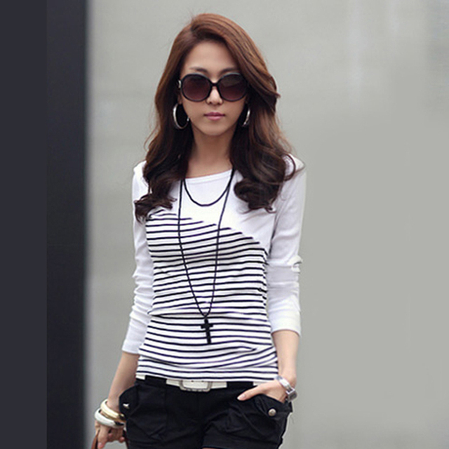 a75612849bfb Camiseta de Mujer ropa 2019 Camiseta de rayas de manga larga Tops ropa de  Mujer camisetas de algodón Casual camiseta Mujer
