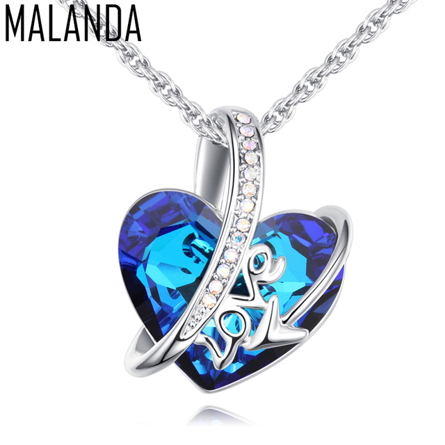 MALANDA Brand Fashion Big Classic Heart Shaped Crystal From Swarovski Metal LOVE Pendant Necklaces For Women Charms Jewelry Gift