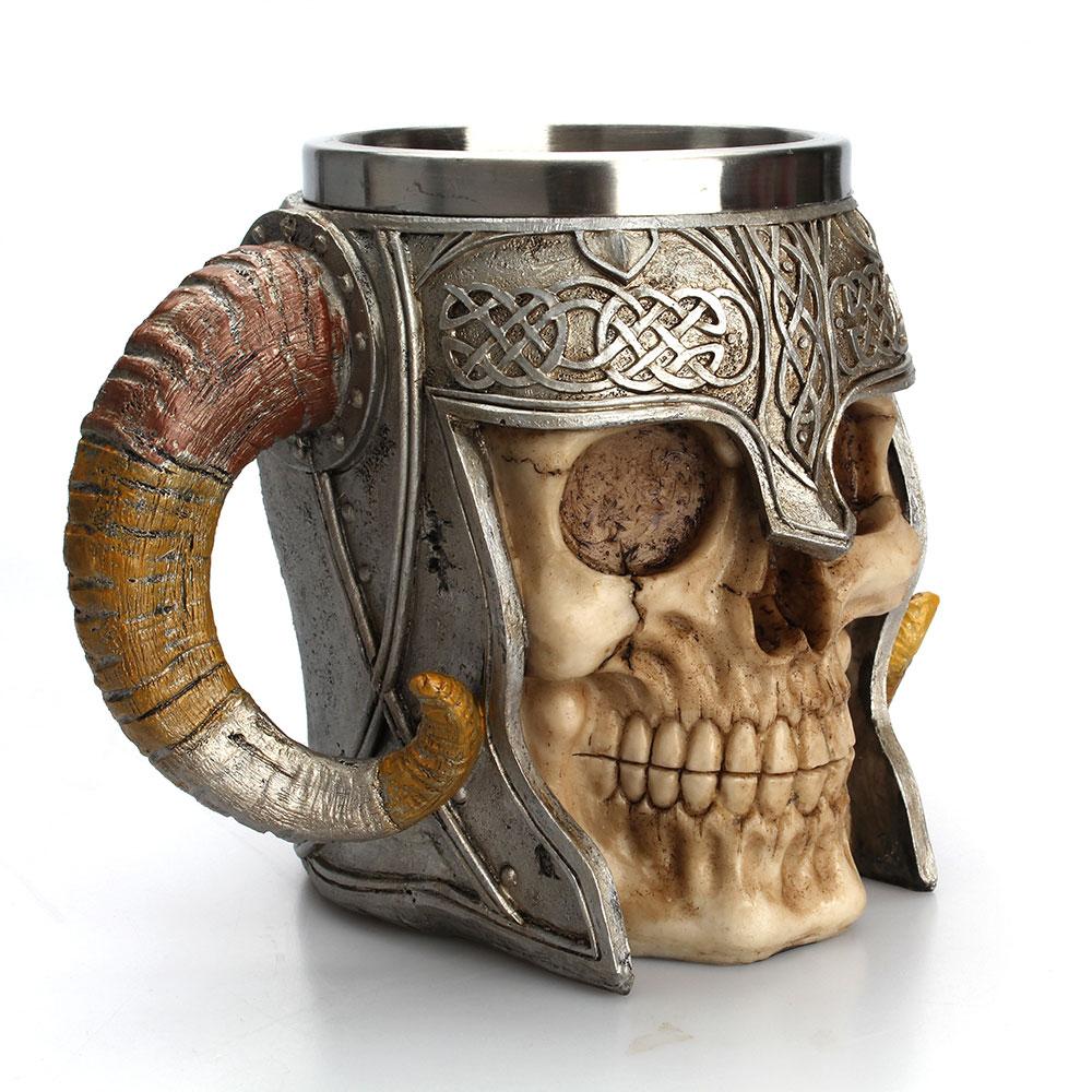 Stainless Steel Skull Mug Viking Ram Horned Pit Lord Warrior Beer Stein Tankard Coffee Mug Tea Cup Halloween Bar Drinkware Gift
