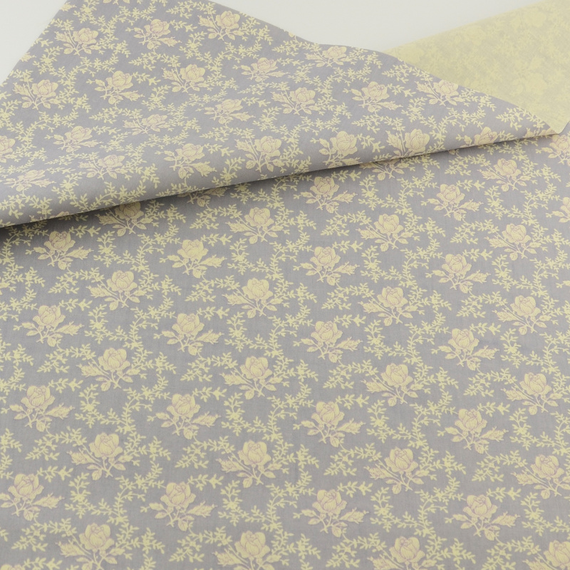 Gray Rose Cotton Fabric Quilting Sewing Cloth Cover Crafts Bedding Home Textile Decoration Teramila Fabrics Clothing Patchwork