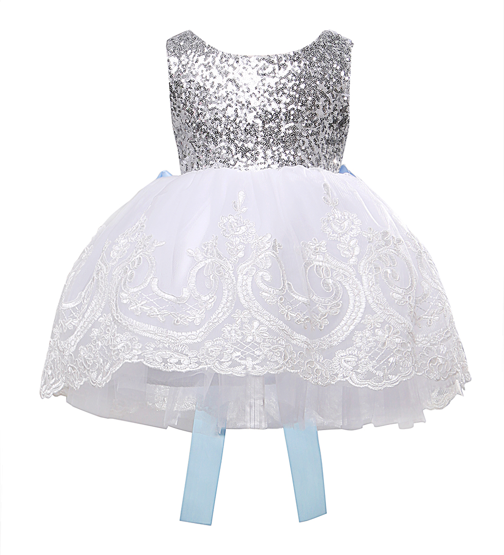 Ծաղիկների աղջիկներ Bowknot Lace Embroattered Dress - Մանկական հագուստ - Լուսանկար 1