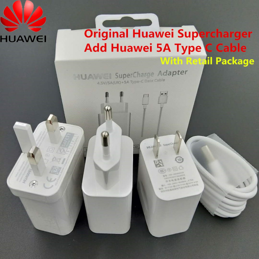 Huawei P20 SuperCharger Original 5V 4.5A USB Wall Charge Adapter Type C Data Cable For Honor 9 10 Note 10 /p10 Plus/Mate 10 Pro