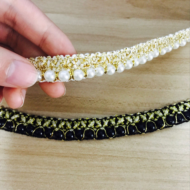 1.5CM WIDE PEARL AND GOLD TRIM SOLD PER METRE