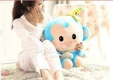 middle plush blue monkey toy banana monkey toy smile monkey toy gift about 40cm