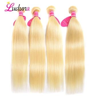 Luduna 613 Blonde Straight Hair Bundles Brazilian Hair Weave Bundles 100% Human weaving Remy Hair Extensions 4 Pcs/Lot