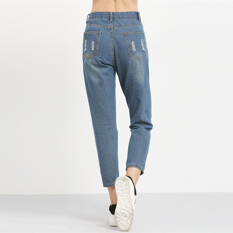 ROMWE Blue Ripped Distressed Boyfriend Ankle Denim Jeans Women Casual Summer Autumn Plain Straight Leg Pants Spring Trousers 8