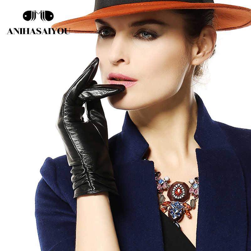 ベストセラー革手袋女性、革の女性の手袋、ショート女性の革手袋、シープスキンの女性の冬の手袋-2081