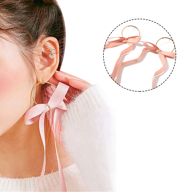 2019 New 1 Pair Fashion Bowknot Long Dangle Earring High Quality Pink Black Ribbon Drop Earrings for Women Beauty Life Essential