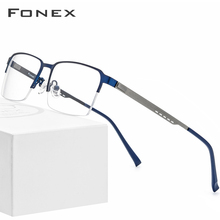 FONEX Alloy Glasses Frame Men Square Myopia Prescription Eyeglasses 2019 New Metal Half Rim Optical Screwless Eyewear 8842