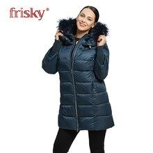 2018 Frisky новинки зимний женский пухвик толстое пальто зима с натуральным мехом высокого качества брендовые Удобные Модные Повседневное пальто зима Для женщин одежды  плюс размер 6XL FR-1001