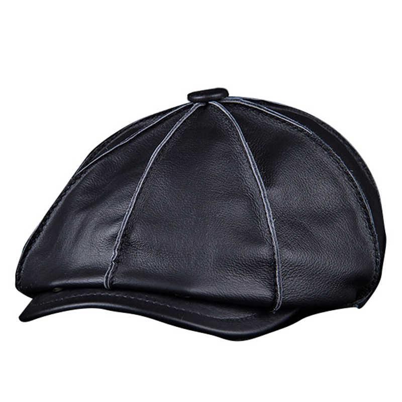 9e985ab0a Men's Genuine Leather Warm Octagonal Cap, Casual Vintage Newsboy Cap Golf  Driving Flat Cabbie Hat, Winter Male Artist Gatsby Cap