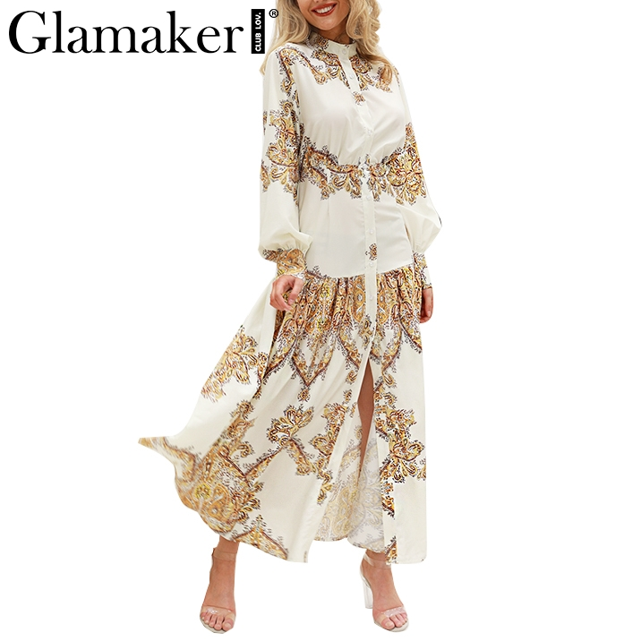 Detail Feedback Questions about Glamaker White paisley print elegant  vintage women dress Sexy boho maxi Summer beach dresses 2018 split long  casual dress ...