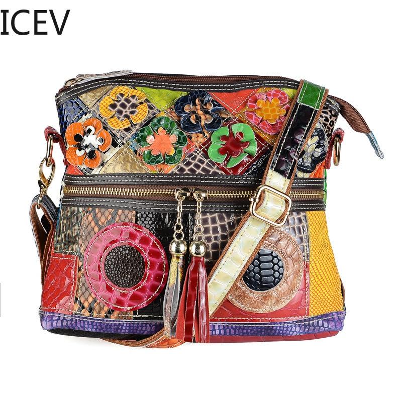 ICEV New Simple European Fashion Serpentine Crossbody Bags for Women Messenger Bags Handbags Women Famous Brands Tassel Flower стоимость