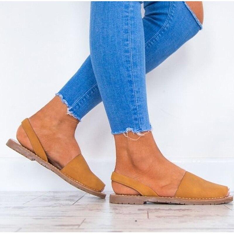 HTB1mpWNtXGWBuNjy0Fbq6z4sXXau MCCKLE Summer Sandals Women Plus Size Flats Female Casual Peep Toe Shoes Faux Suede Slip On Elastic Band Leisure Solid Footwear