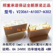 Darmowa wysyłka dużo (5 części/partia) 100% oryginalny nowy TE SCHRACK V23061 A1007 A302 X113 V23061 A1007 A302 4 piny 8A 24VDC przekaźniki mocy