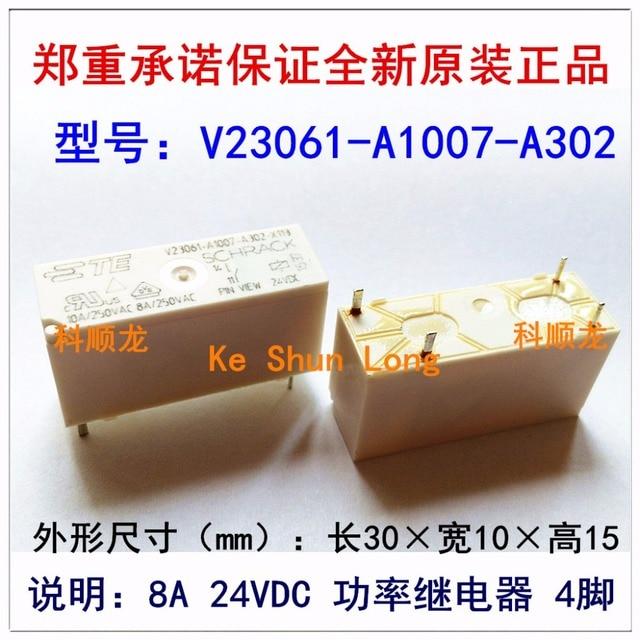 Ücretsiz kargo lot (5 adet/grup) 100% Orijinal Yeni TE SCHRACK V23061 A1007 A302 X113 V23061 A1007 A302 4 PINS 8A 24VDC Güç Röleleri