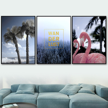 Sea Coconut Tree Forest Pink Flamingo Wall Art Canvas Painting Nordic Posters And Prints Pictures For Living Room Decor