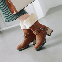 Women's Leather Shoes Thick Heel Round Toe Keep Warm Middle Tube Martin Boots Women Chunky Heeled Plush Chic Shoes brown