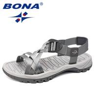 BONA-sandalias de estilo clásico para hombre, zapatos cómodos para caminar al aire libre, con banda superior, suaves y ligeras, para verano, envío gratis