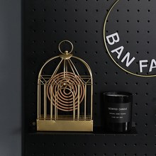 Nordic Retro Wrought-iron Mosquito Coil Frame Storage Rack Wall Hanging Incense Sandalwood Coiled Shelf Organizer