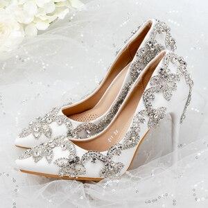 Image 4 - נשים נעלי עקבים גבוהים חתונה דק עקבים לבן יהלום נוצץ שמלת ערב נעלי כלה נעלי גביש משאבות למסיבה