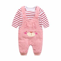 Siyubebe Newborn Baby Girl Romper Infant Bebe Long Sleeves Cotton Cartoon Rabbit Clothes Baby 2PCS Sets Rompers+Suspenders 0 24M