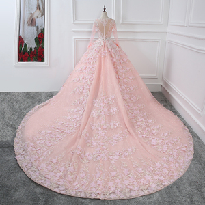 Image 2 - CloverBridal קריסטלים פניני חרוזים פאייטים פרחים רומנטיים ורוד צוואר o שרוולים שמלת כלה אלגנטית ארוכה 1 מטר רכבת