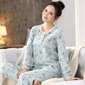 Más el Tamaño M-XXL Mujeres Pijamas Pijama Feminino Pijama Conjunto ropa de dormir de mujer de marca de manga Larga Otoño Femenino camisón señora set