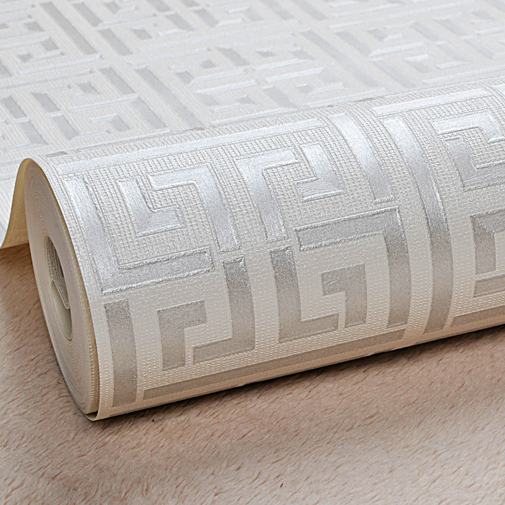 White Gold Greek Key Pattern White Wallpaper Modern Geometric Metallic Vinyl Wall Paper Roll Teal,Black,Silver,Rose Gold