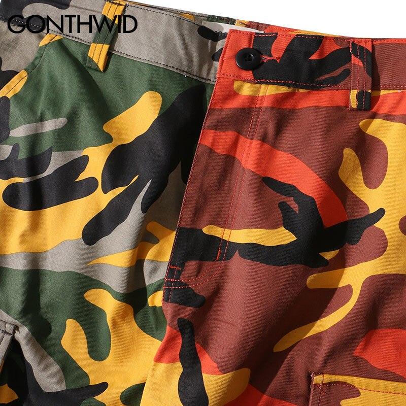 Patchwork Cargo Coton Gonthwid Hip Hop Camo Deux tone Poches pink Militaire Pantalon Casual Streetwear Camouflage orange Multi Blue WwqYzHFw