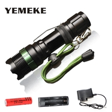 купить Rechargeable LED Flashlight CREE Q5/XM-L T6 1000lm/2000Lumens portable light Zoomable Flashlight Torch light with 18650 battery по цене 659.32 рублей
