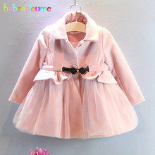 2-6Years/Spring Autumn Baby Girls Wool Coats And Jackets Pink Cute Princess Children Clothing Outerwears For Kids Clothes BC1079
