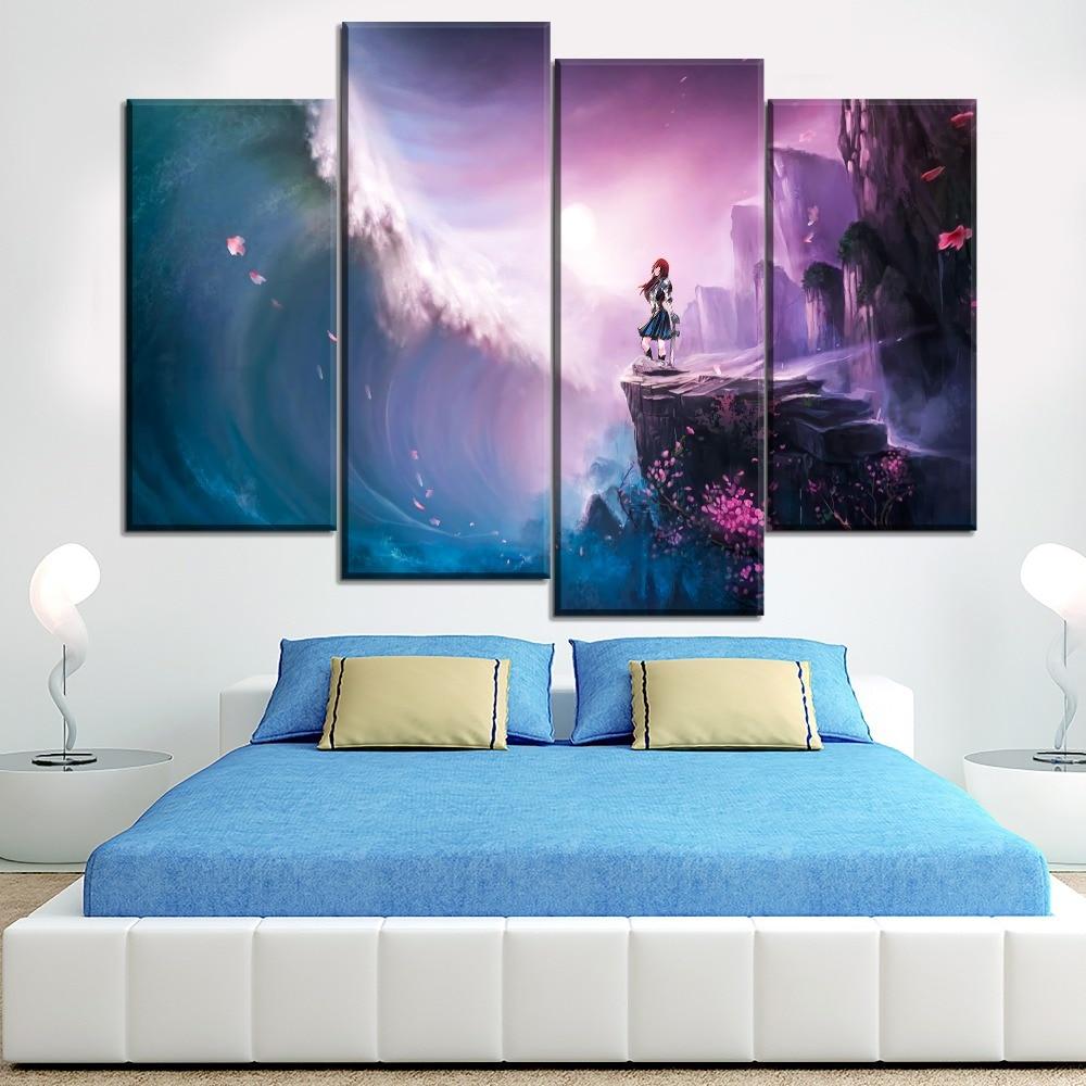 Холст HD Печатный Landcape картина 4 панели домашний настенный художественный Декор аниме Сказочный хвост Эрза алый постер для спальни Модульна...